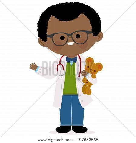 Vector illustration of a male African American pediatrician doctor holding a bear toy.