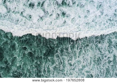 Aerial view of a magnificent ocean wave
