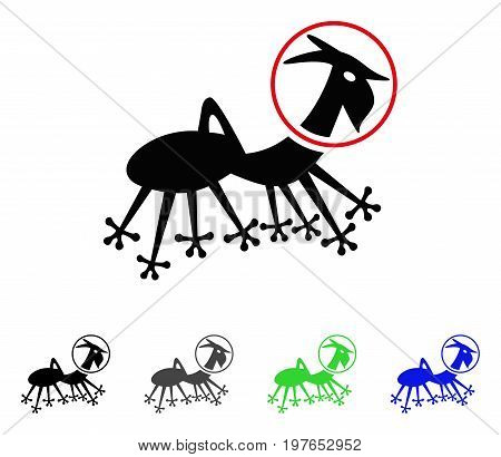 Alien Creature Skafandr flat vector pictogram. Colored alien creature skafandr gray, black, blue, green icon versions. Flat icon style for application design.