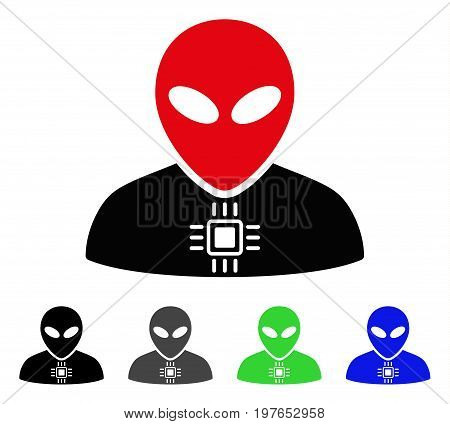 Alien Cyborg flat vector pictograph. Colored alien cyborg gray, black, blue, green pictogram versions. Flat icon style for graphic design.