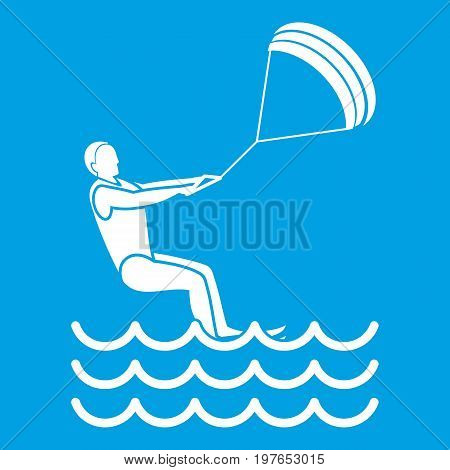 Man takes part at kitesurfing icon white isolated on blue background vector illustration