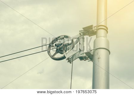Tramway Line Pole Pulley Gear