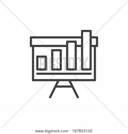 Growing chart on whiteboard line icon, outline vector sign, linear style pictogram isolated on white. Symbol, logo illustration. Editable stroke. Pixel perfect vector graphics