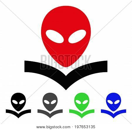 Alien Knowledge Book flat vector pictogram. Colored alien knowledge book gray, black, blue, green icon versions. Flat icon style for application design.