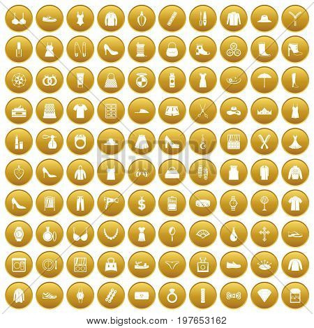 100 womens accessories icons set in gold circle isolated on white vectr illustration