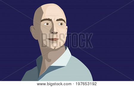 31 July, 2017: Famous entrepreneur and CEO Jeff Bezos became the richest man in the world. Jeff Bezos editorial vector portrait on a blue background.