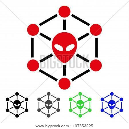 Alien Network flat vector icon. Colored alien network gray, black, blue, green icon variants. Flat icon style for web design.