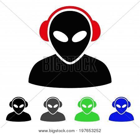 Alien Operator flat vector pictograph. Colored alien operator gray, black, blue, green icon versions. Flat icon style for web design.