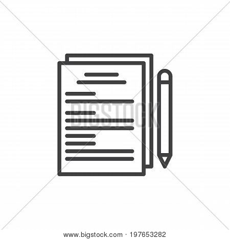 Paper documents and pen line icon, outline vector sign, linear style pictogram isolated on white. Documentation symbol, logo illustration. Editable stroke. Pixel perfect vector graphics