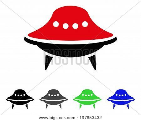 Alien Spaceship flat vector icon. Colored alien spaceship gray, black, blue, green icon variants. Flat icon style for web design.