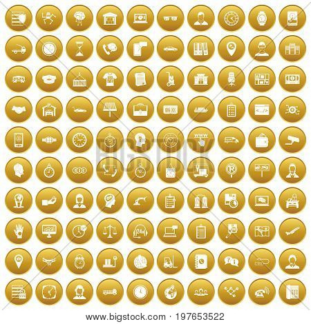 100 working hours icons set in gold circle isolated on white vectr illustration
