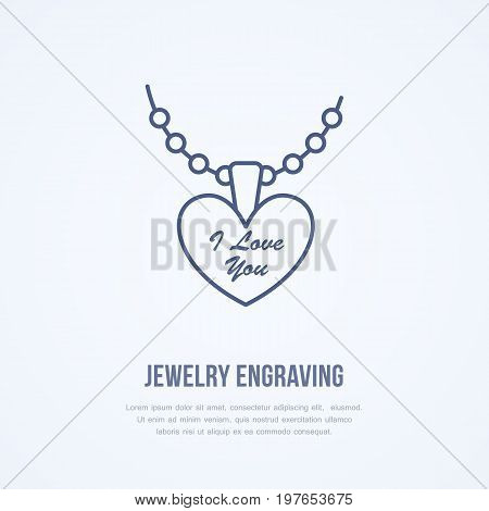 Pendant on chain jewelry illustration. Flat line icon for engraving service, jewellery store logo. Engraved jewels accessories sign.