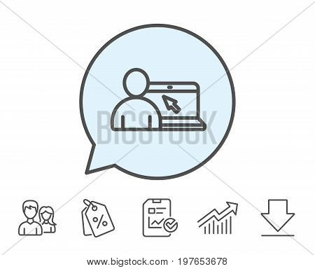 Online Education line icon. Notebook or Laptop with mouse cursor sign. Internet Lectures symbol. Report, Sale Coupons and Chart line signs. Download, Group icons. Editable stroke. Vector