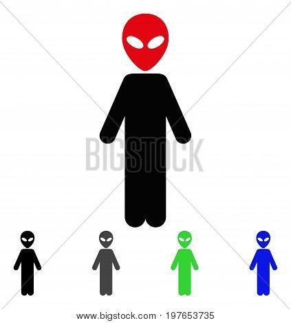 Alien flat vector illustration. Colored alien gray, black, blue, green pictogram versions. Flat icon style for application design.
