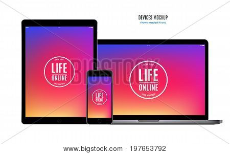 mockup devices: smartphone tablet and laptop with colorful screen isolated on white background. stock vector illustration eps10