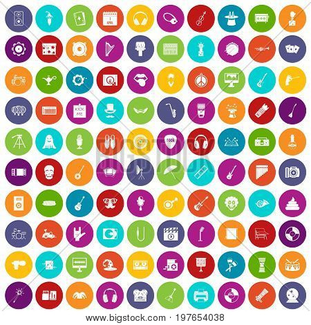 100 show business icons set in different colors circle isolated vector illustration