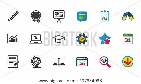 Education and study icon. Presentation signs. Report, analysis and award medal symbols. Calendar, Report and Download signs. Stars, Service and Search icons. Statistics, Binoculars and Chat. Vector