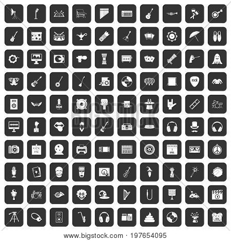 100 show business icons set in black color isolated vector illustration