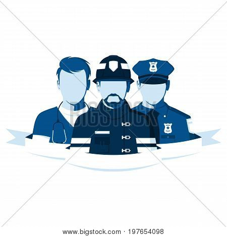 Emblem of rescue team. Silhouettes of people of emergency service. Employees of the ambulance, police and fire department. Firefighter, policeman and paramedic in flat style. Vector illustration.