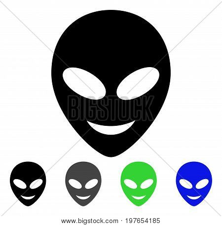Happy Alien Head flat vector pictogram. Colored happy alien head gray, black, blue, green icon variants. Flat icon style for application design.