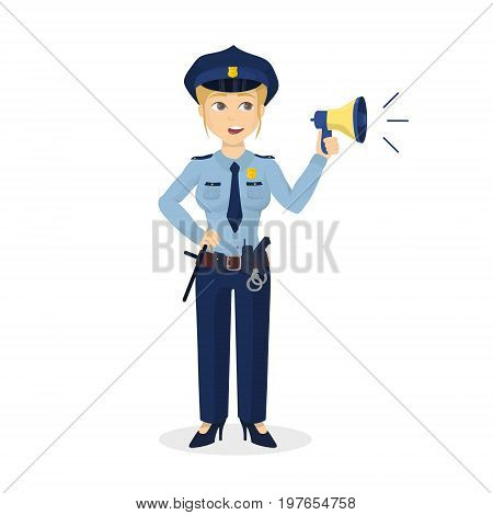 Policewoman with megaphone on white background. Isolated character.