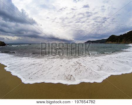 View On The Beach On A Stormy Day