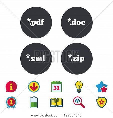 Document icons. File extensions symbols. PDF, ZIP zipped, XML and DOC signs. Calendar, Information and Download signs. Stars, Award and Book icons. Light bulb, Shield and Search. Vector