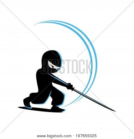 Ninja Samurai Warrior Fighter Character Cartoon Martial Art Weapon Vector