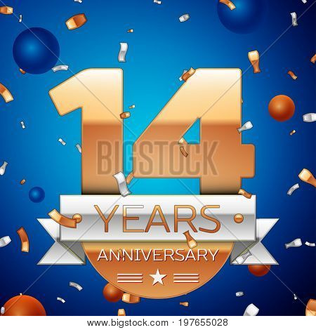 Realistic Fourteen Years Anniversary Celebration Design. Golden numbers and silver ribbon, confetti on blue background. Colorful Vector template elements for your birthday party. Anniversary ribbon