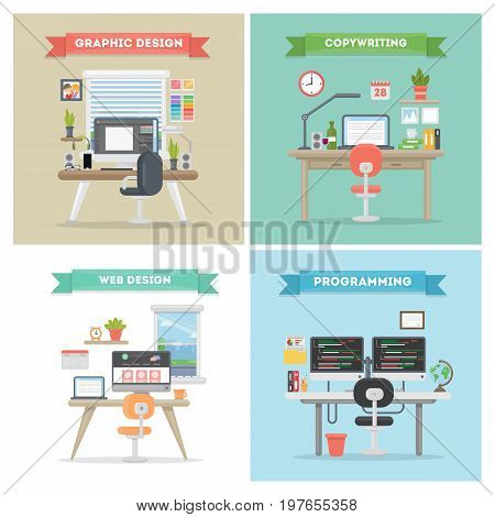 Working places set. Programming and copywriting, web and graphic design.