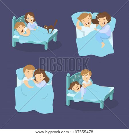 Snoring couples set. Man and woman suffers from snore.