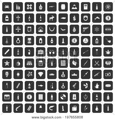 100 smuggling goods icons set in black color isolated vector illustration