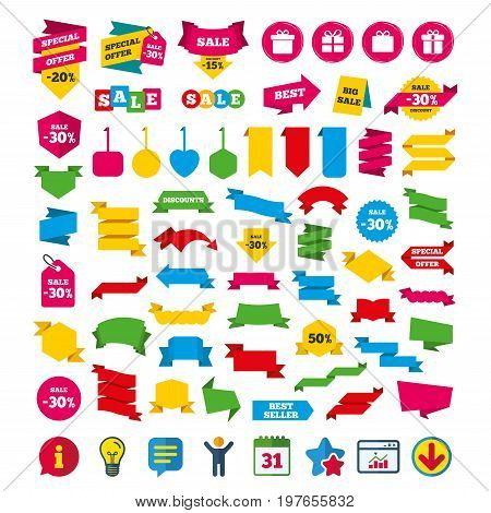 Gift box sign icons. Present with bow and ribbons sign symbols. Shopping tags, banners and coupons signs. Calendar, Information and Download icons. Stars, Statistics and Chat. Vector