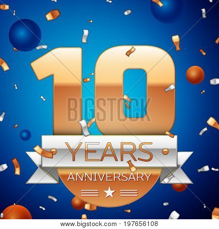 Realistic Ten Years Anniversary Celebration Design. Golden numbers and silver ribbon, confetti on blue background. Colorful Vector template elements for your birthday party. Anniversary ribbon