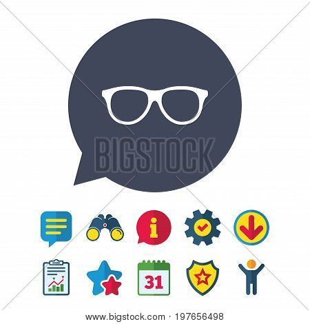 Retro glasses sign icon. Eyeglass frame symbol. Information, Report and Speech bubble signs. Binoculars, Service and Download, Stars icons. Vector
