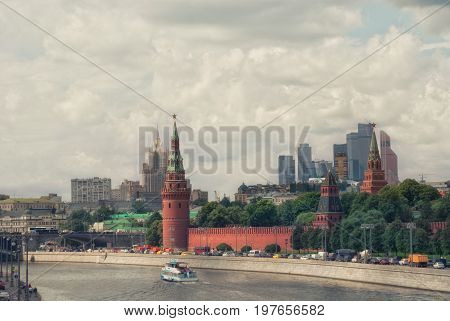 View of Moscow river and Kremlin embankment the wall and monumental buildings of Moscow city.