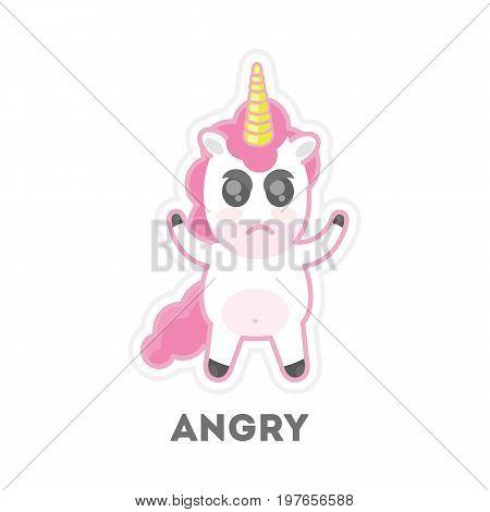 Isolated angry unicorn on white background. Funny cartoon emoji.