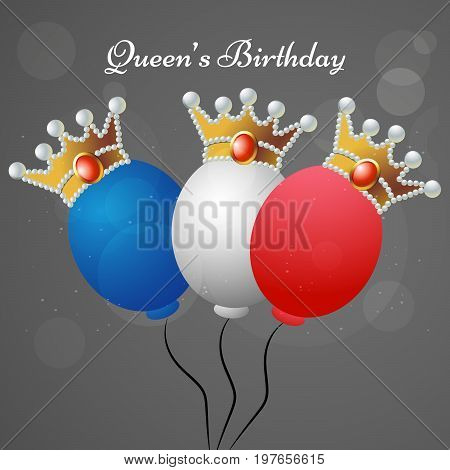 illustration of colorful balloons with Queen's Birthday text on the occasion of Queen's Birthday