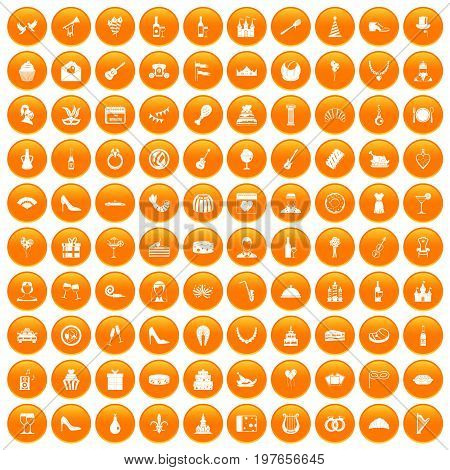 100 banquet icons set in orange circle isolated vector illustration