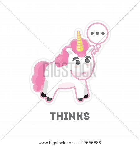 Isolated thinking unicorn on white background. Funny cartoon character.