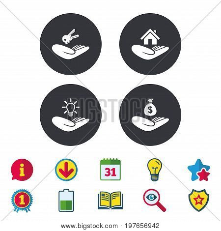Helping hands icons. Financial money savings insurance symbol. Home house or real estate and lamp, key signs. Calendar, Information and Download signs. Stars, Award and Book icons. Vector