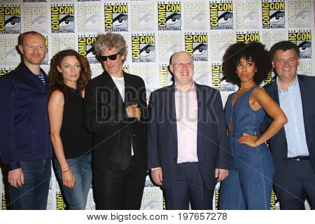 SAN DIEGO - July 23:  Mark Gatiss, Michelle Gomez, Peter Capaldi, Matt Lucas, Pearl Mackie, Steven Moffat at Comic-Con 2017 at the Comic-Con International Convention on July 23, 2017 in San Diego, CA