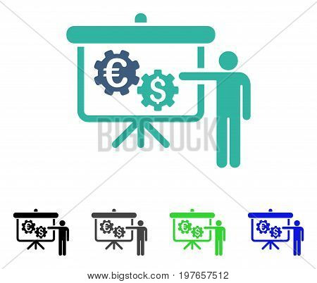 International Industry Project Presentation flat vector pictograph. Colored international industry project presentation gray, black, blue, green pictogram versions. Flat icon style for web design.