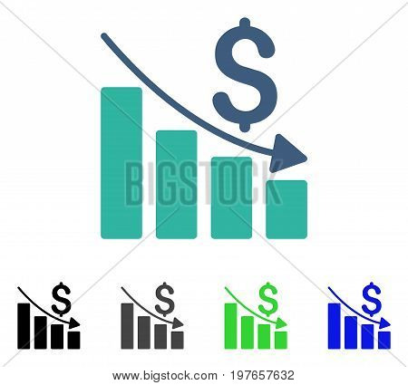 Sales Crisis Chart flat vector pictograph. Colored sales crisis chart gray, black, blue, green icon versions. Flat icon style for application design.