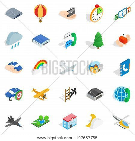 Aviation icons set. Isometric set of 25 aviation vector icons for web isolated on white background
