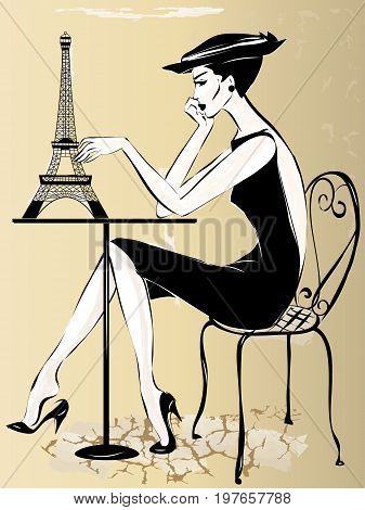 Fashion Woman In Paris Cafe With Eiffel Tower On The Table, Vector Illustration
