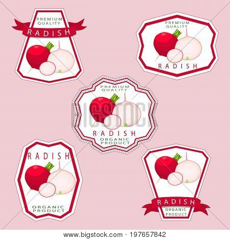 Abstract vector illustration logo for whole ripe vegetable red radish.