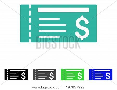 Ticket flat vector pictogram. Colored ticket gray, black, blue, green icon variants. Flat icon style for graphic design.