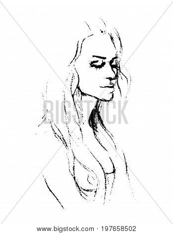 Vector Digital drawing - pencil - vertical format, melancholy, lonely. Work of the impertinent portraits .
