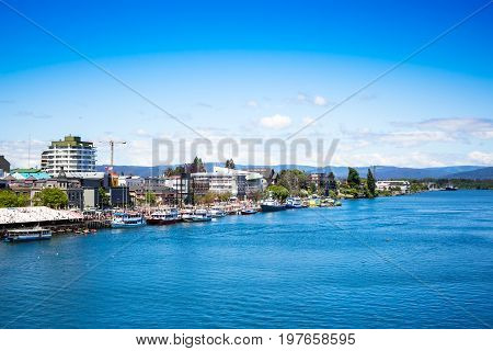 Valdivia view and Calle-Calle River in Chile